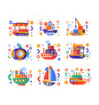 retro cute water transport set steamboat vector image