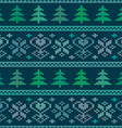 Seamless knitted pattern with trees and snowflakes vector image vector image