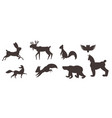 set of animals in flat style vector image
