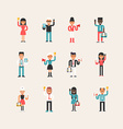 Set of Flat Style Cartoon Business Man and Women vector image
