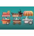street coffee cart popcorn and hotdog shop with vector image vector image