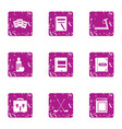 study grant icons set grunge style vector image