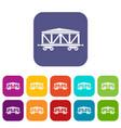 train cargo wagon icons set vector image vector image