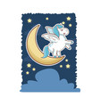 unicorn magical horse pony wings with moon star vector image vector image