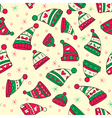 winter seamless pattern with red green hats vector image vector image