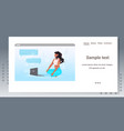 woman using laptop chatting during video call vector image vector image