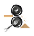 wood crusher spanner sawdust board gear vector image