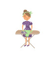 young woman in casual clothing ironing clothes on vector image vector image