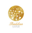 abstract logo design with dandelion on golden vector image vector image