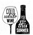 black-white wine bottle and glass for summer menu vector image vector image