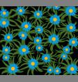 blue flower on black vector image vector image