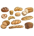 Bread sorts and bakery pencil sketch icons vector image
