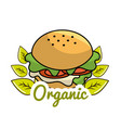 burger icon with leaves organic concept vector image vector image