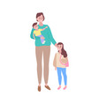 caring mother with son daughter walking together vector image vector image