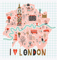 cartoon map london with legend icons vector image