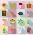 chanukah jewish holiday icons set flat style vector image