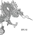 chinese style dragon statue line sketch up vector image vector image