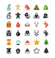 christmas festive flat icons and silhouette icons vector image vector image