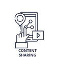 content sharing line icon concept content sharing vector image vector image