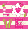 Cute baby background with letters and ladybug vector image vector image