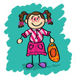 Cute cartoon little girl vector image