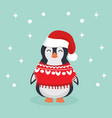 cute christmas penguin clothes vector image