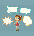 cute girl with speech balloon vector image vector image