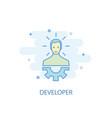 developer line concept simple line icon colored vector image