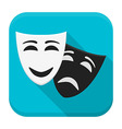 Drama mask app icon with long shadow vector image vector image