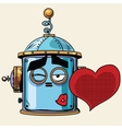 emoticon love kiss emoji robot head smiley emotion vector image vector image