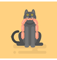 flat of cat holding a sausage vector image