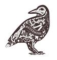Floral Crow vector image vector image