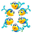 group funny and happy fish vector image