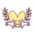 hands with heart and branches with leaves vector image vector image