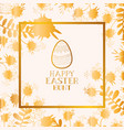 happy easter golden frame with egg painted and vector image vector image