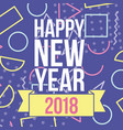 happy new year 2018 greetings card figures color vector image vector image
