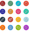 health and fitness line icons within circle vector image vector image