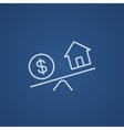 House and dollar symbol on scales line icon vector image vector image
