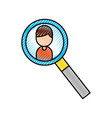 magnifier icon with cartoon man user icon vector image vector image