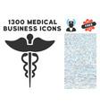 medicine caduceus symbol icon with 1300 medical vector image