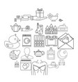 nuptial icons set outline style vector image vector image