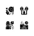 party songs ideas black glyph icons set on white vector image vector image