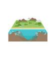 plastic pollution ocean 3d landscape vector image vector image