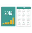 pocket calendar 2018 year week starts sunday gold vector image vector image