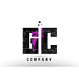 purple black alphabet letter gc g c logo vector image