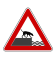 Road ending warning sign for dogs vector image vector image