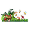 scene with many bugs in garden vector image vector image