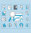search icons website email world magnifier thin vector image vector image