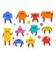 set geometric shapes cute comic characters vector image vector image