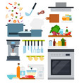 set home cooking icons flat vector image vector image